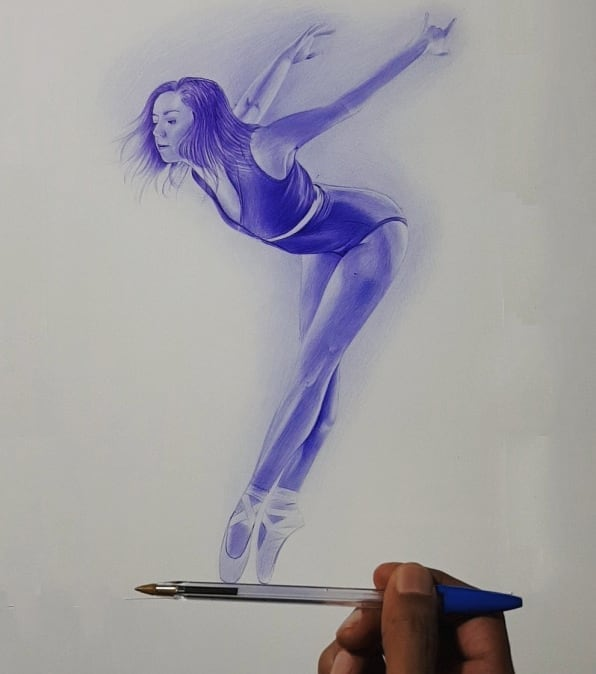pen drawing dancer by hisham albayyat