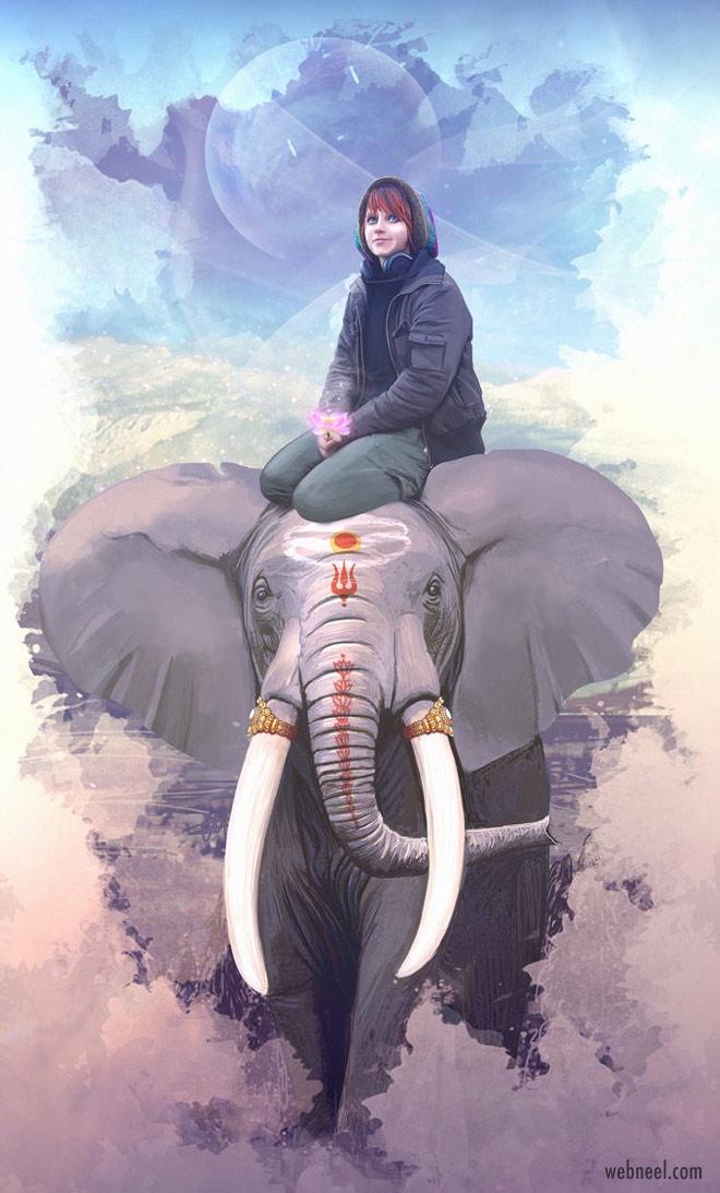 digital artwork elephant hinduism by geyzerrr