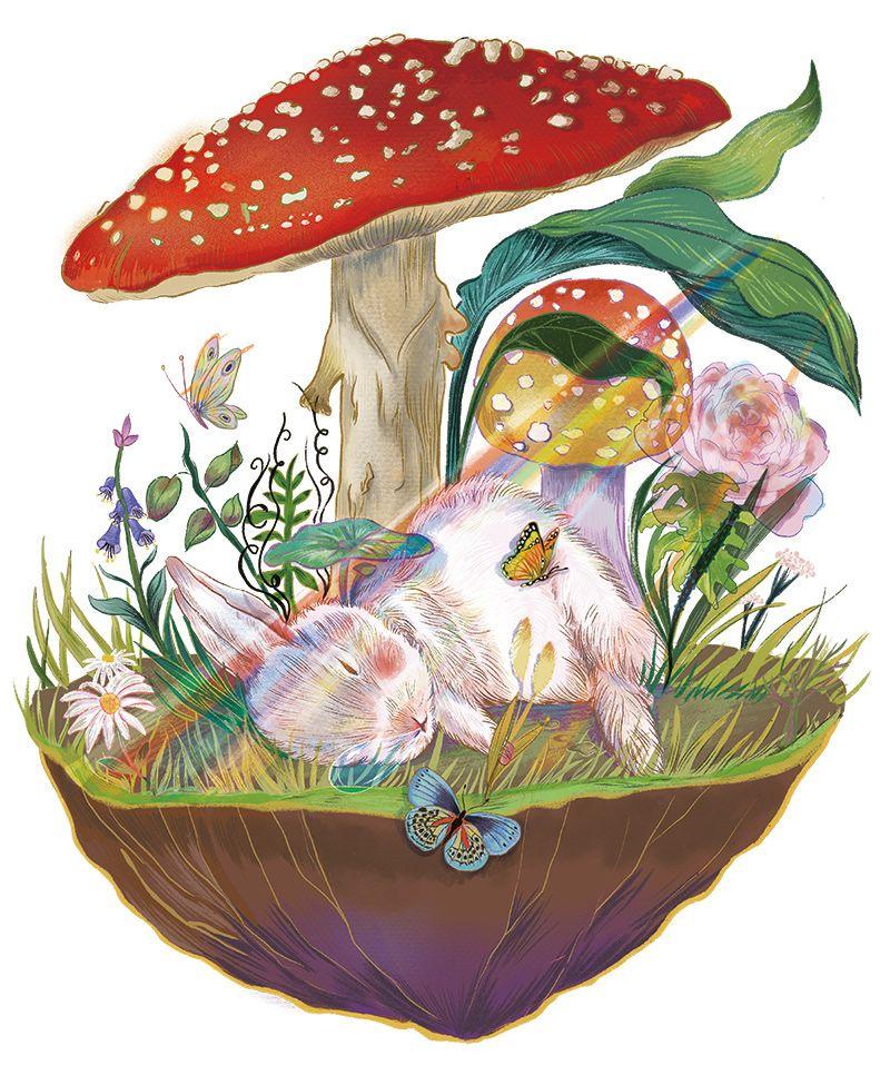 drawing art rabbit sleep by pollyannacao
