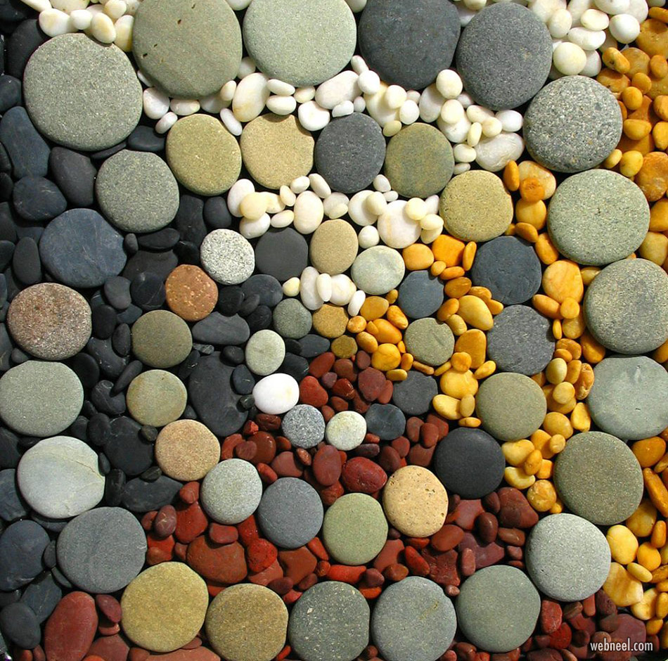 pebbles art stone colorful