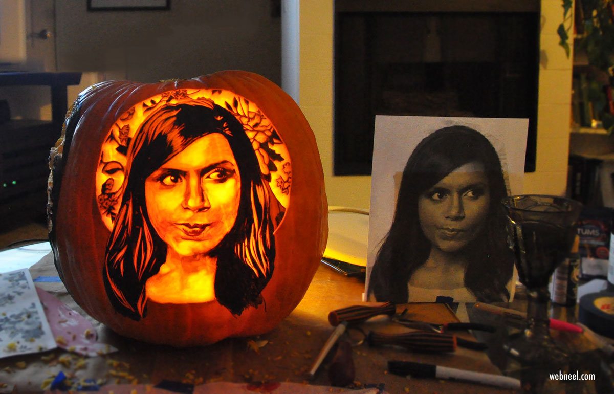 pumpkin carving portrait by medusacharm