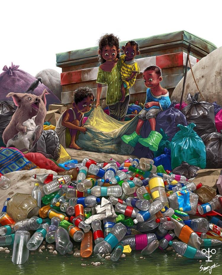 digital illustration plastic recycle