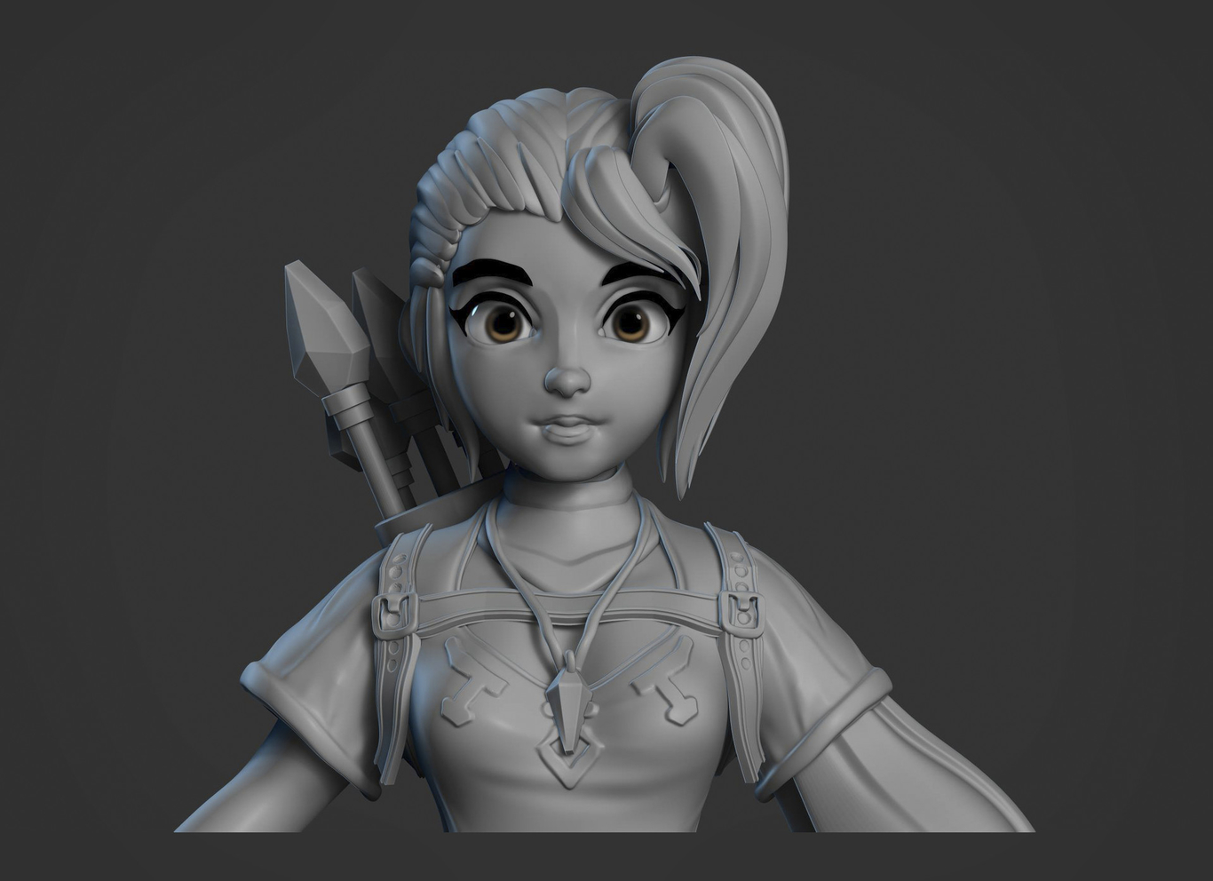 3d girl model character design archer by jorge luis