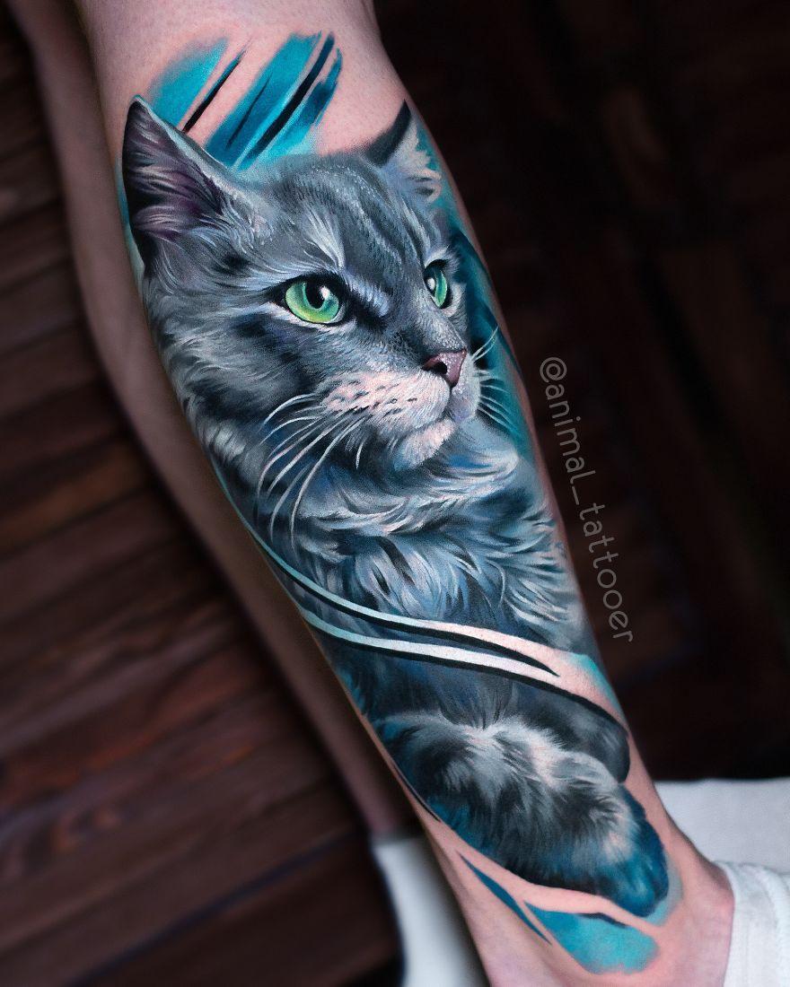 colorful animal tattoo art cat by natasha lisova