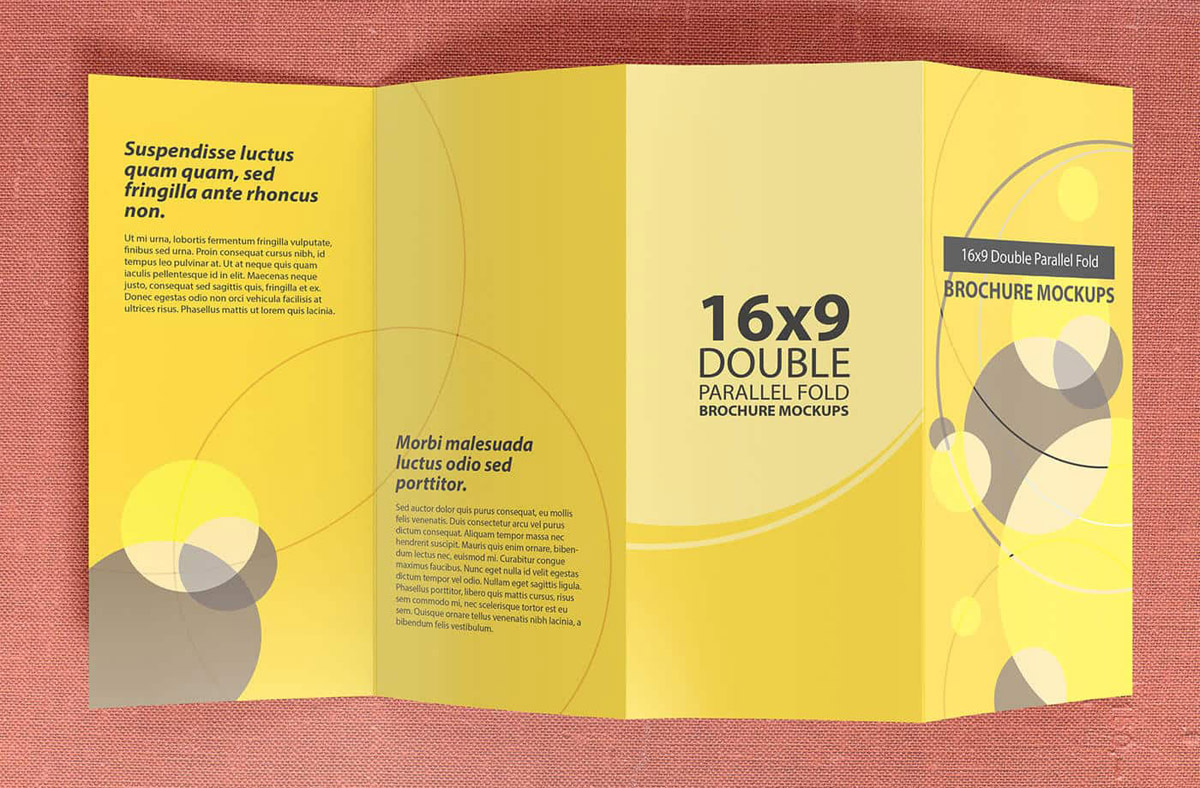 double parallel fold brochure mockup design
