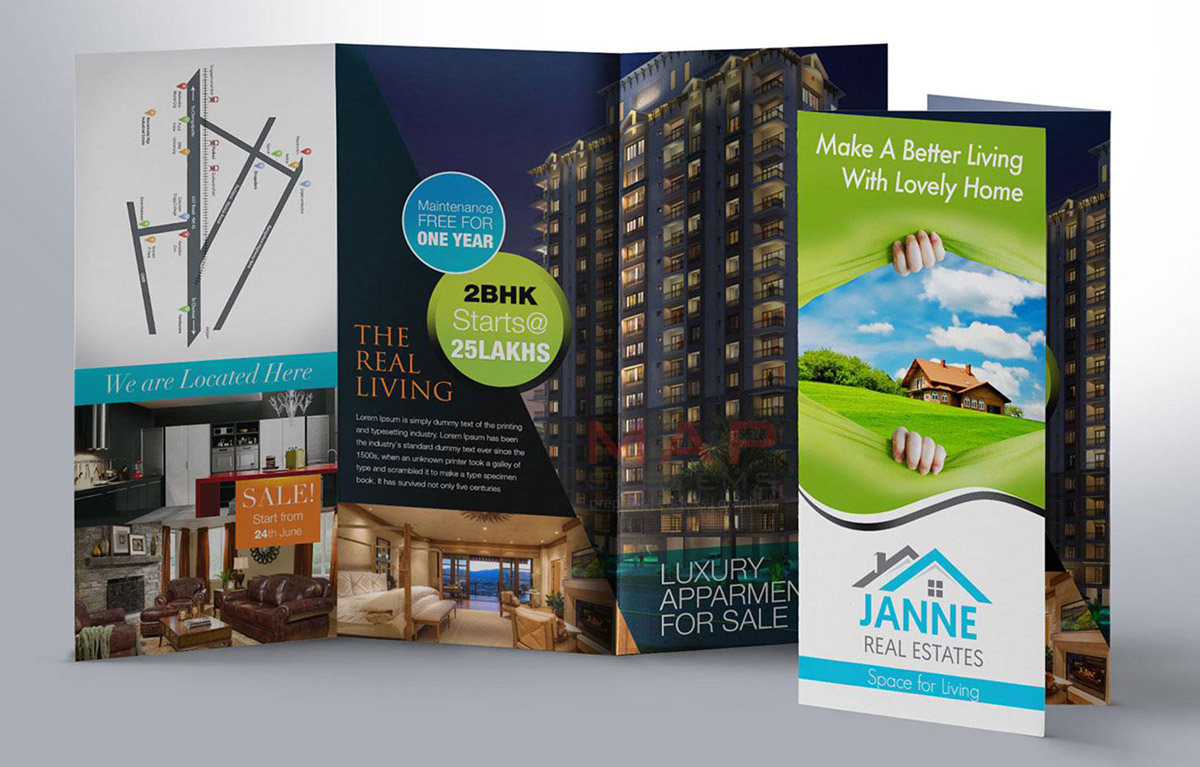 parallel map fold brochure of a realestate company