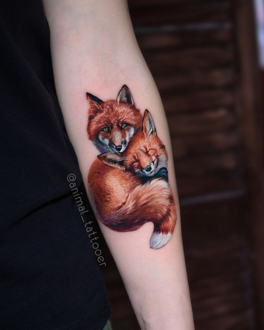 colorful animal tattoo art fox family by natasha lisova