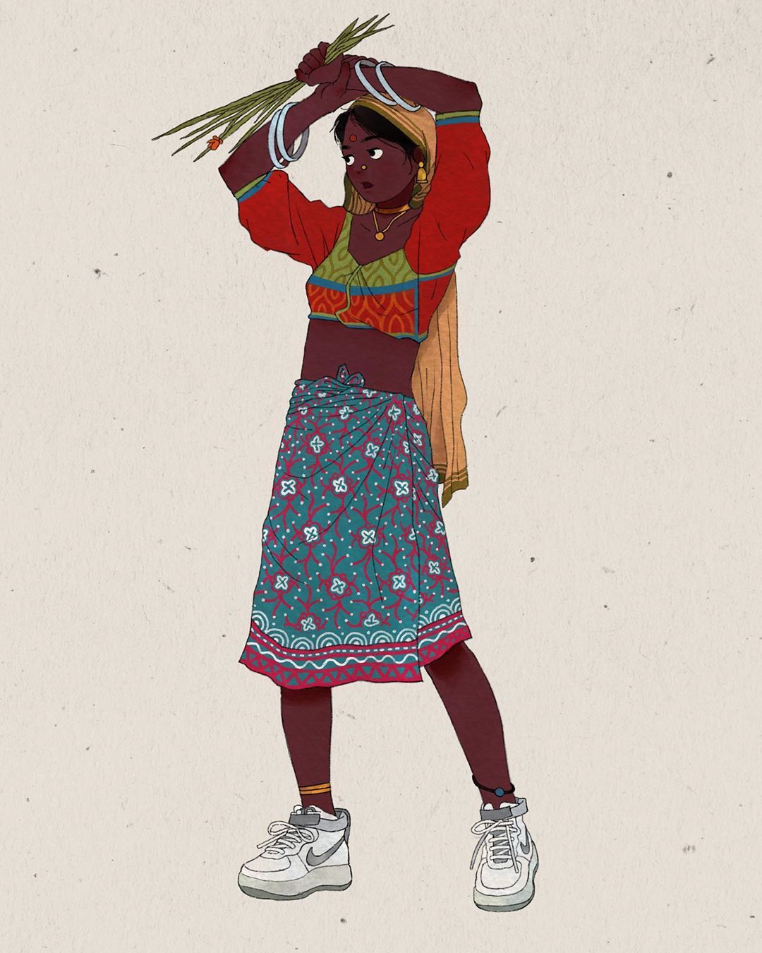 digital illustration indian modern woman
