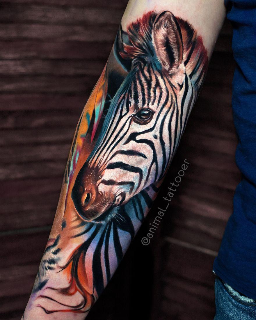 colorful animal tattoo art zebra by natasha lisova
