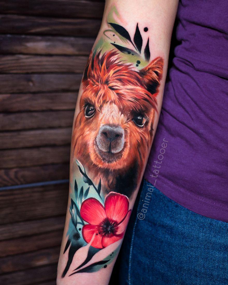colorful animal tattoo art pony by natasha lisova