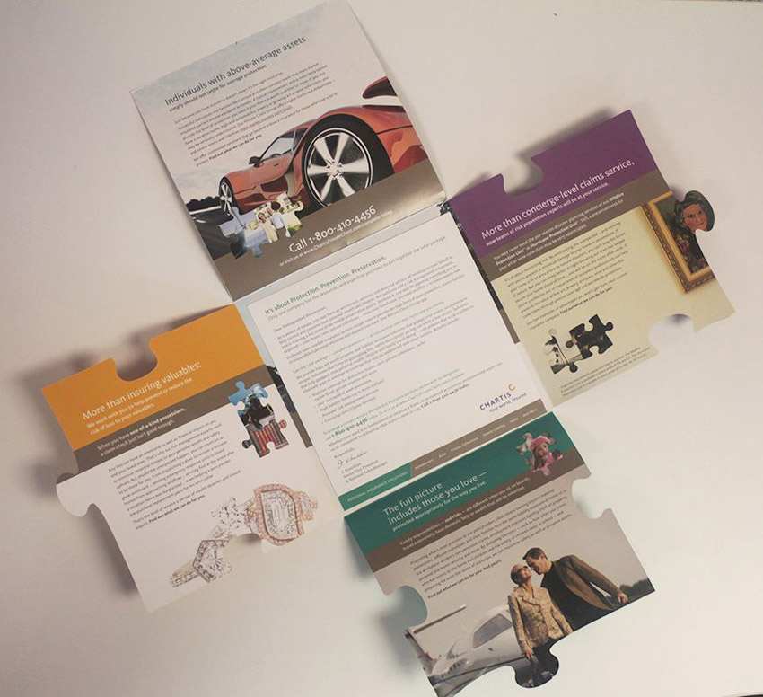 cross fold brochure design with heavy graphics