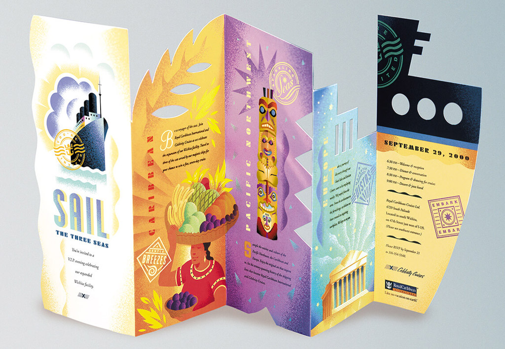 die cut brochure design health and wellness royal carribean