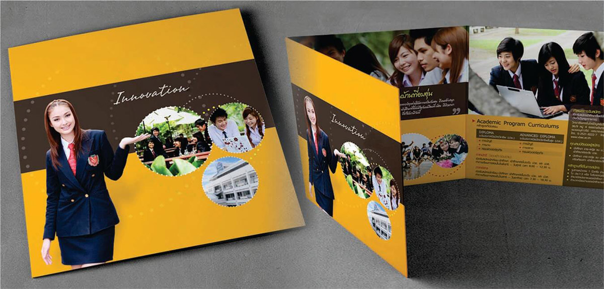 roll fold brochure design sample of a school