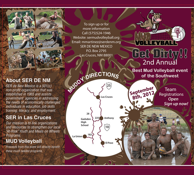 events brochure design for a mud volleyball game