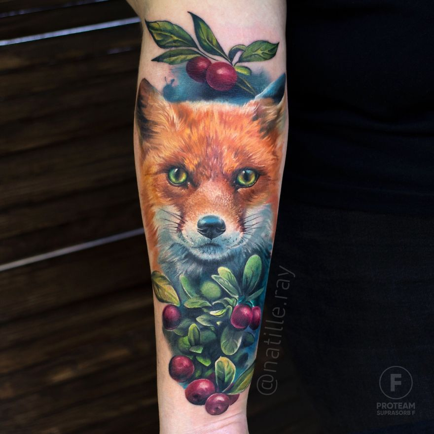 colorful animal tattoo art dog