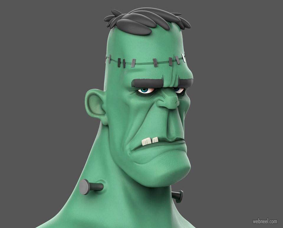 3d model monster funny character frankenstein by moluvi89