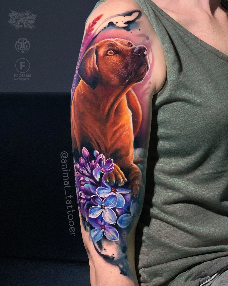 colorful animal tattoo art dog by natasha lisova