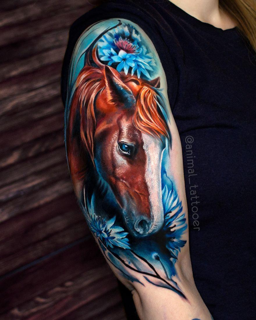 colorful animal tattoo art horse by natasha lisova