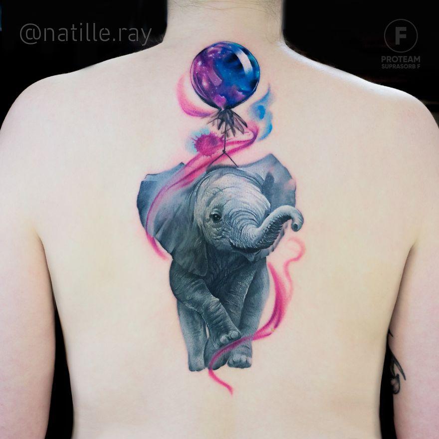 colorful animal tattoo art elephant by natasha lisova