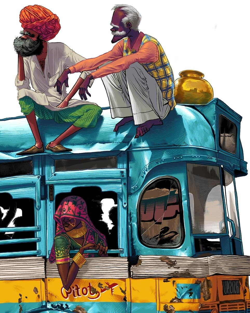 digital illustration bus journey