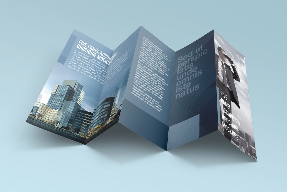 accordion fold brochure with five panels by good mockups