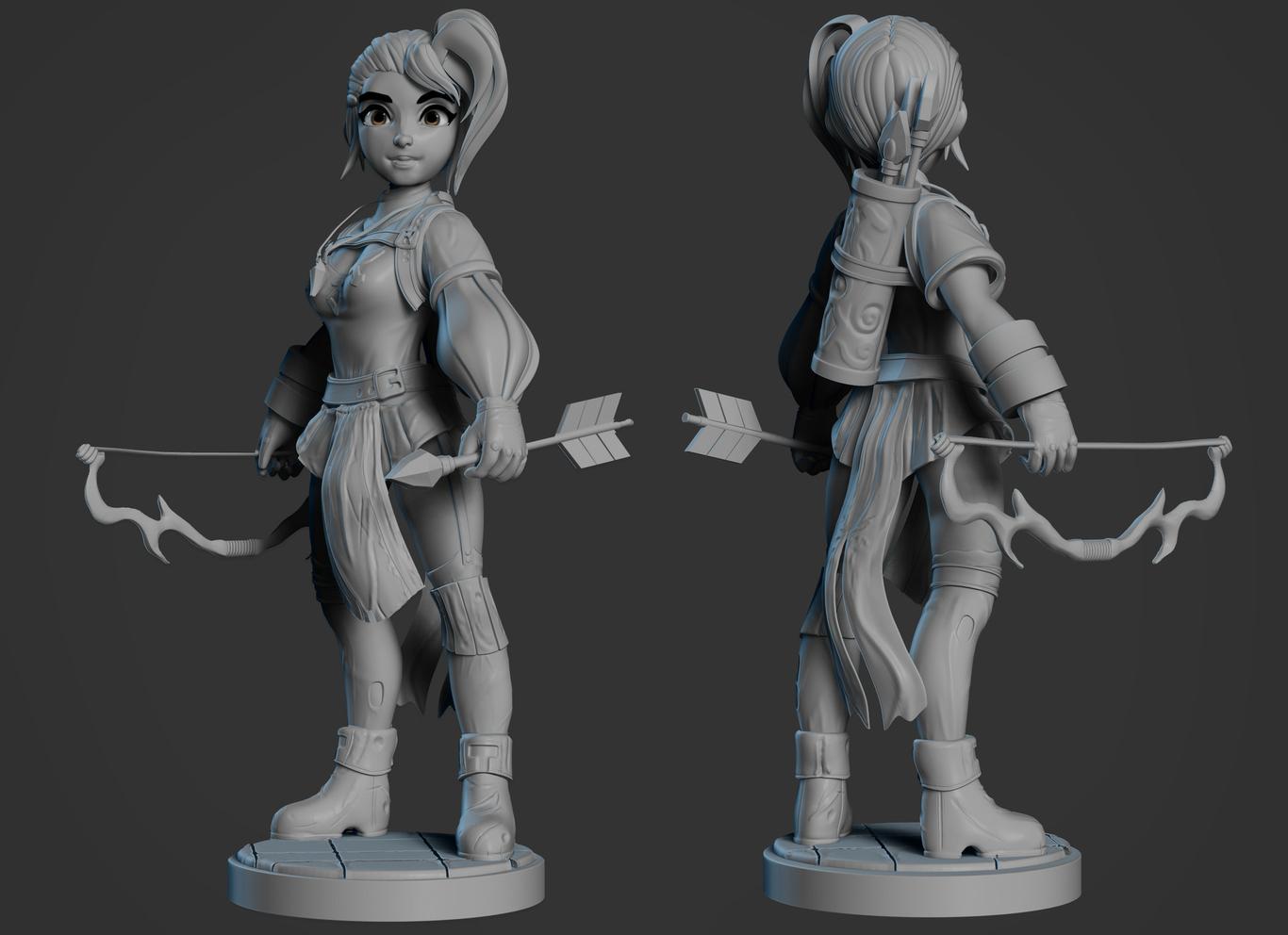 3d girl model character design archer