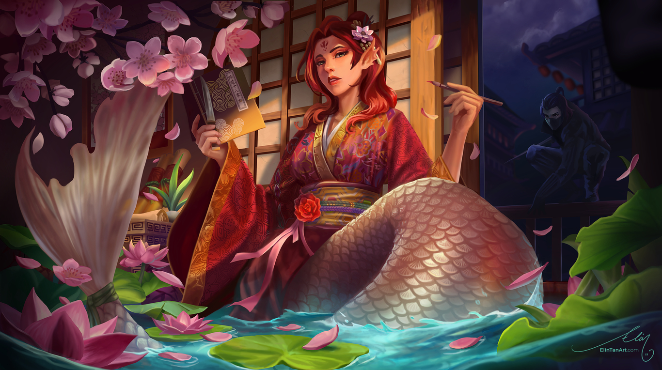 concept art chinese mermaid digital painting by elint
