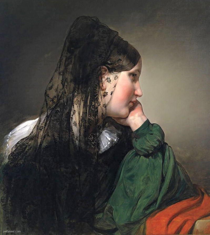 realistic woman painting by friedrich von amerling
