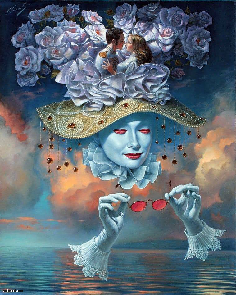 surreal oil painting love is bline love by michael cheval