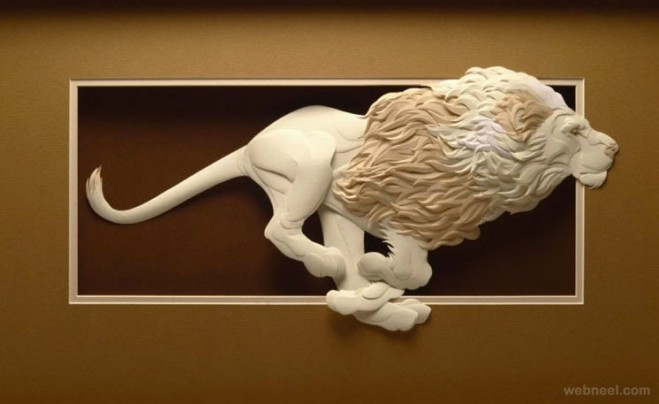 paper sculpture lion