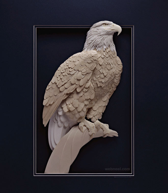 paper sculpture eagle calvin nicholls