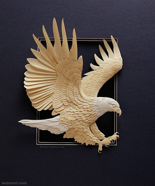 paper sculpture eagle by calvin nicholls