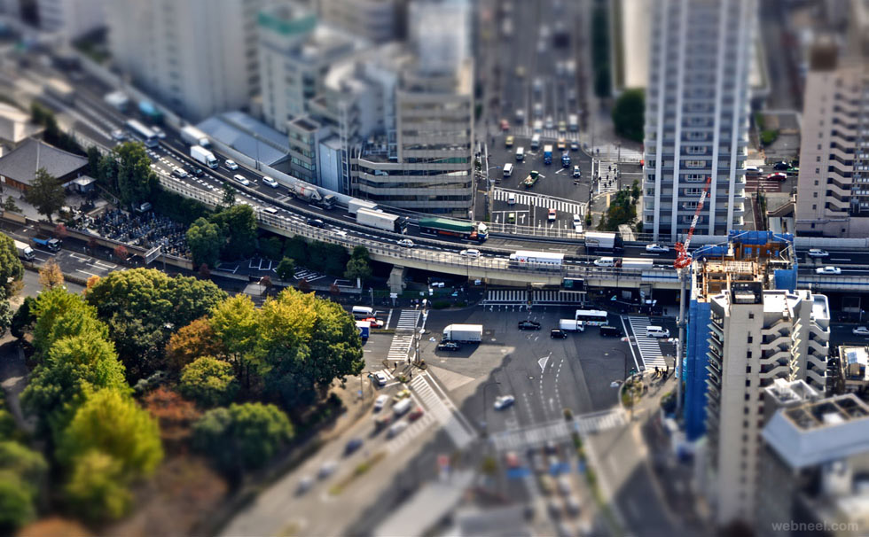 tilt shift photography road