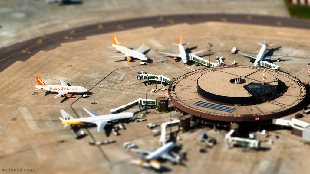 tilt shift photography plane