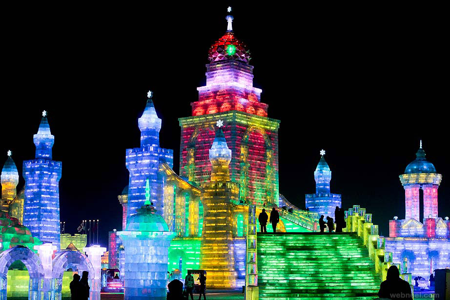 ice sculpture china temple