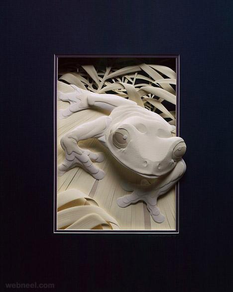 paper sculpture frog calvin nicholls
