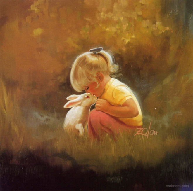 cute baby painting with rabbit