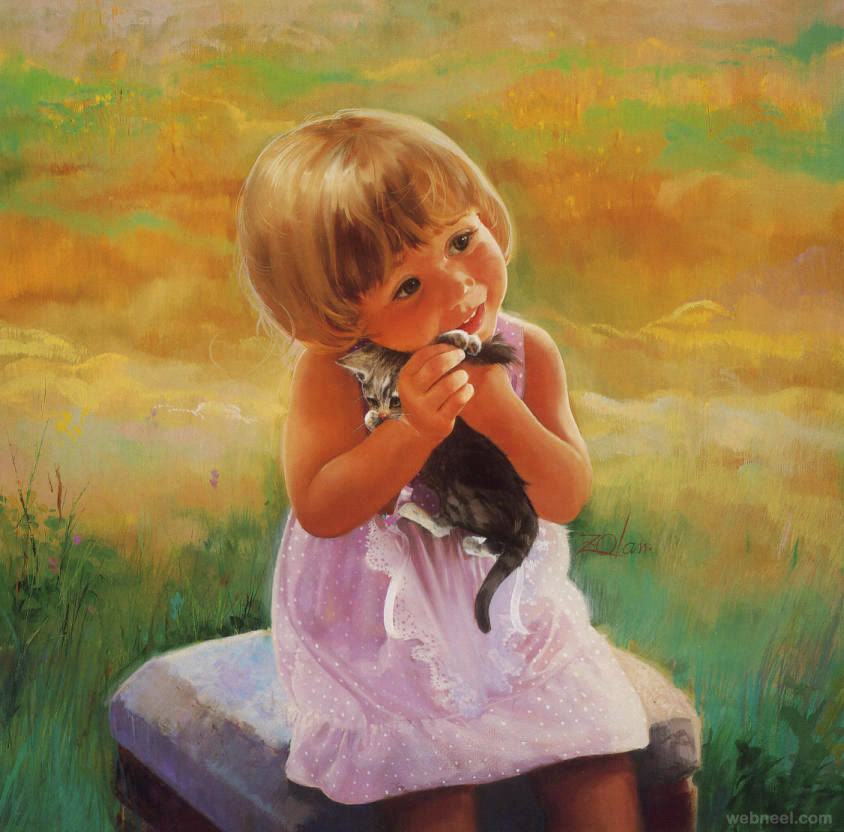 baby painting love cat