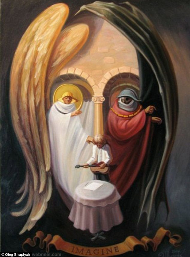 oleg shuplyak illusion painting beatles john lennon