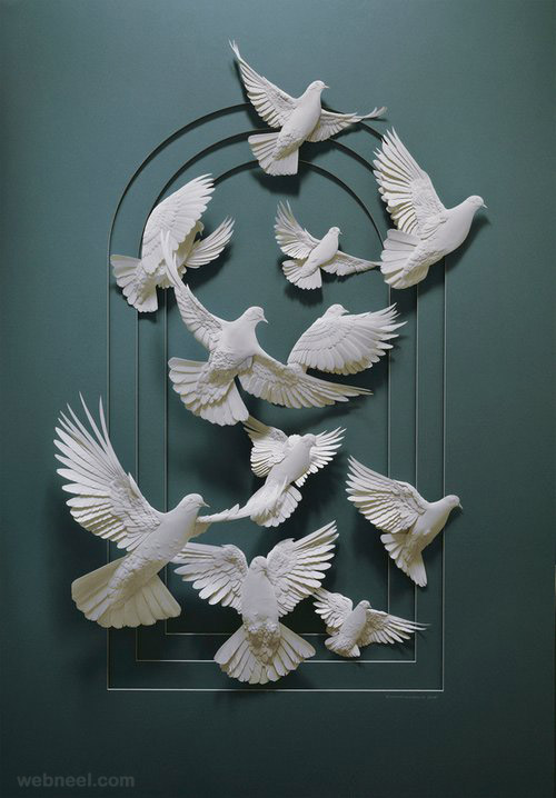paper sculpture birds