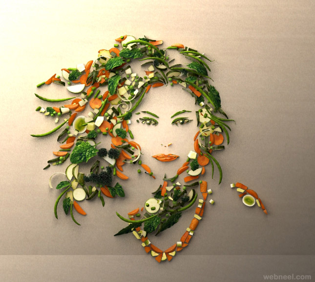 woman vegetable art