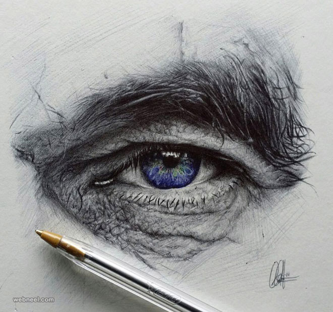 drawing of eyes by christopher herrera