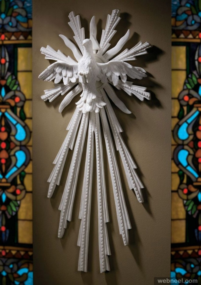 white wall sculpture