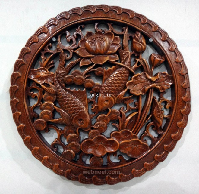 chinese wood wall sculpture by nilima
