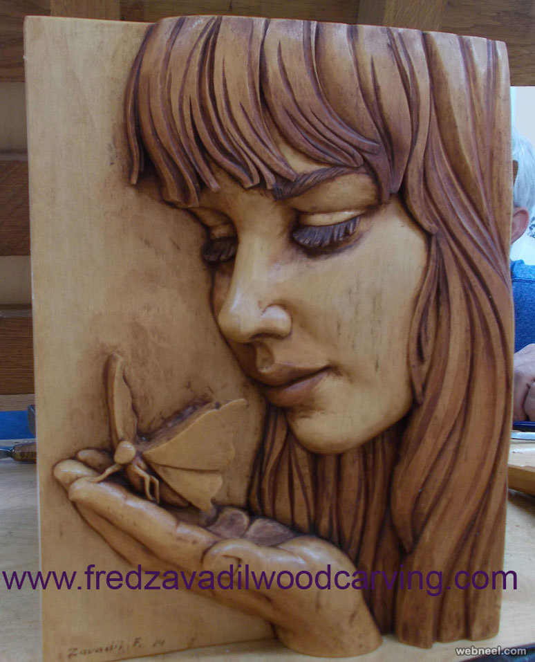 girl wood carving