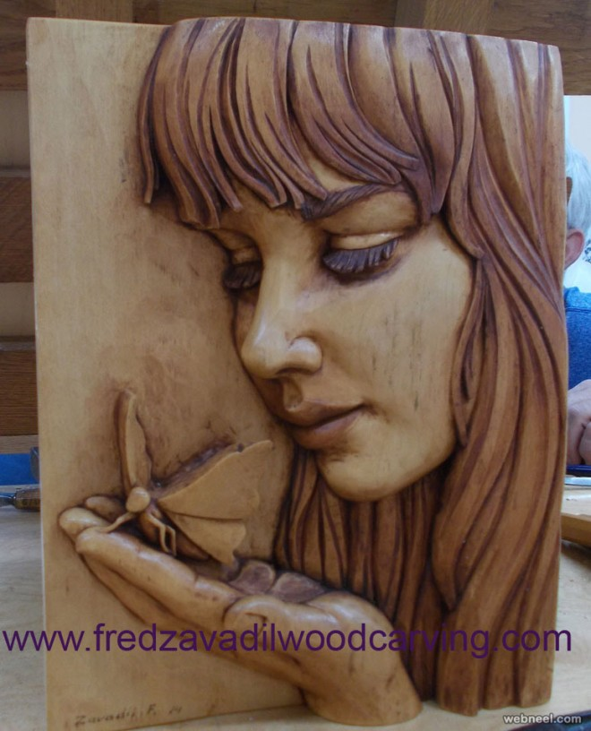 girl wood carving by fred zavadil