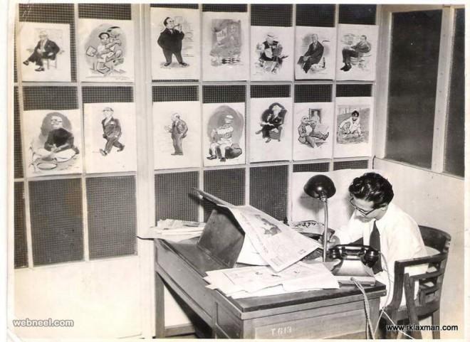 rk laxman cartoonist at work