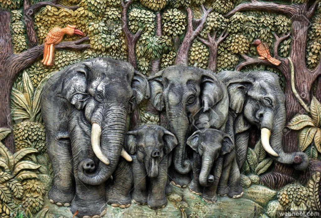 elephant wall sculpture