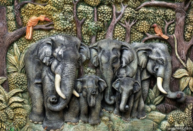 elephant wall sculpture by sirikul thirasuntrakul