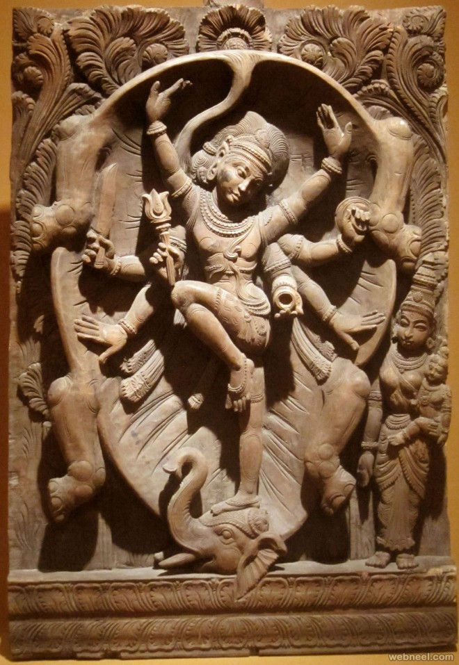 shiva india wood carving by hiart